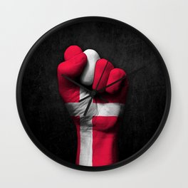 Danish Flag on a Raised Clenched Fist Wall Clock