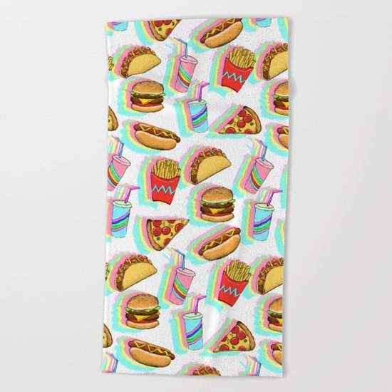 Rainbow Fast Food Beach Towel