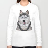 husky Long Sleeve T-shirts featuring Happy Husky by ArtLovePassion