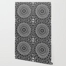 Detailed Black and White Mandala Wallpaper