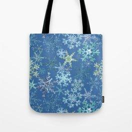 icy snowflakes on blue Tote Bag