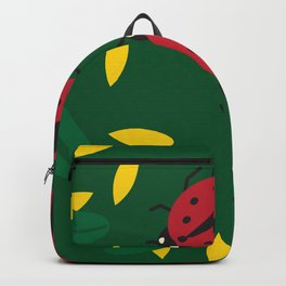 Ladybugs and Green Yellow Leaves Backpack