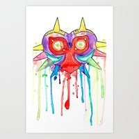 majoras mask Art Prints featuring Majoras Mask Splatter by ysocrazeh