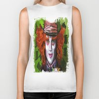 mad hatter Biker Tanks featuring Mad Hatter by grapeloverarts