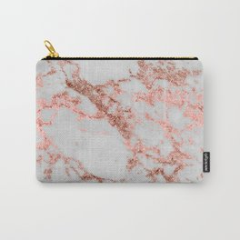 Stylish white marble rose gold glitter texture image Carry-All Pouch