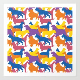 Dogs Pattern 2. Dog Lover. Colourful Dogs. Lots of Dogs Art Print