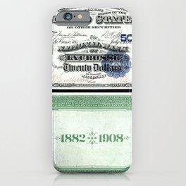 1882 Issue U.S. Federal Reserve Twenty Dollar Battle of Lexington Bank Note iPhone Case