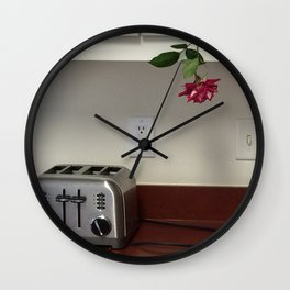 Toaster and Rose hanging out Wall Clock