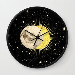 'Imminent Eclipse' Sun Moon & Stars Wall Clock