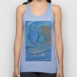 marble stone turquoise and gold Unisex Tank Top