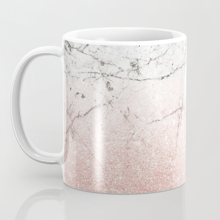Rose Glitter Gold & gray Marble Coffee Mug