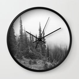 Ridgeline Alpine Mountain Hiking Evergreen Forest Woods Outdoors Washington Oregon Olympic Nature Landscape Black White Wall Clock