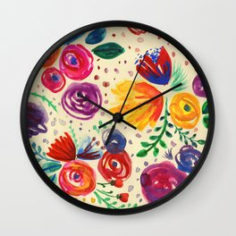 Summer Fruits Floral Wall Clock