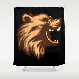 Angry Grizzly Bear Shower Curtain