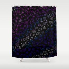 Holographic Gems Pattern Black Shower Curtain