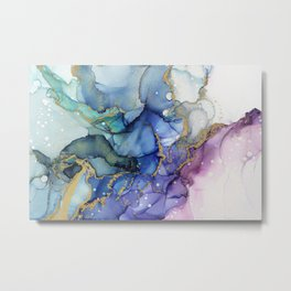 Moody Mermaid Bubbles Abstract Ink Metal Print