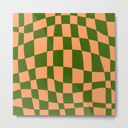 Check tan brown and cadmium green pattern  Metal Print