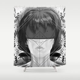 Beautiful Fractal Feathers for Major Motoko in Black and White Shower Curtain