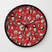 dessert Wall Clocks featuring Dessert First! by Dawn Gonzales