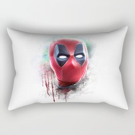 dead pool abstract watercolor portrait painting | Original Fan Art Rectangular Pillow
