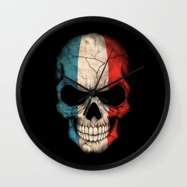 Dark Skull with Flag of France Wall Clock