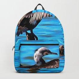 Cormorant Wings on Blue Water Backpack