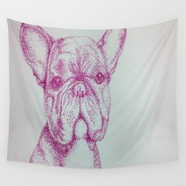 Fuchsia Frenchie Wall Tapestry