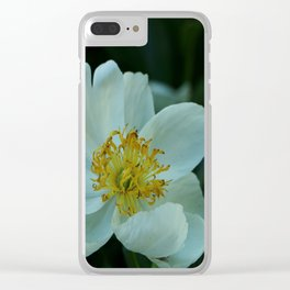 White Peony Clear iPhone Case