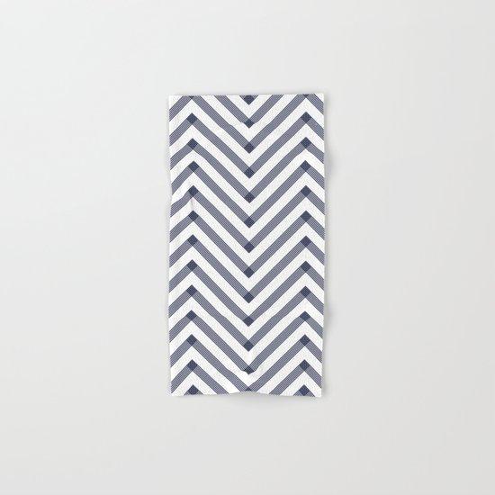 Marine Chevron Zigag pattern - dark blue on white on #Society6 Hand & Bath Towel