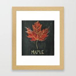 Fall Red Maple Leaf Black Background Framed Art Print