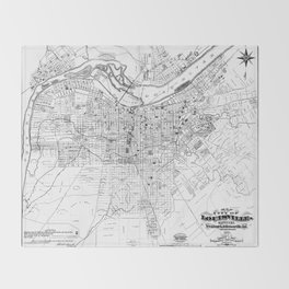Vintage Map of Louisville Kentucky (1873) BW Throw Blanket