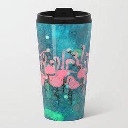 :: Flamingos Among Us :: Metal Travel Mug