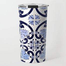 Azulejos, moroccan tiles, Painted tiles, blue, white, portugal Travel Mug