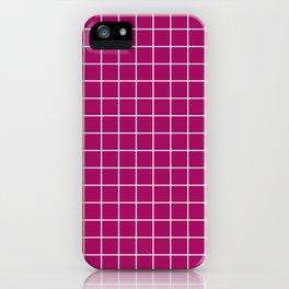 Jazzberry jam - violet color -  White Lines Grid Pattern iPhone Case