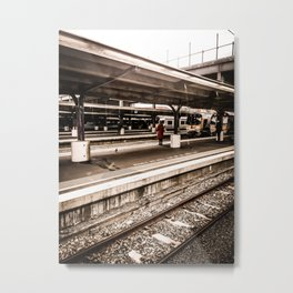 Person At Train Station Metal Print