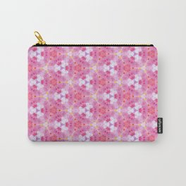Abstract Pink Floral Pattern Carry-All Pouch