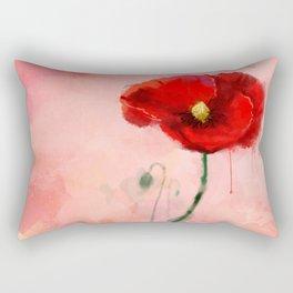 Red Poppy watercolor digital painting Rectangular Pillow