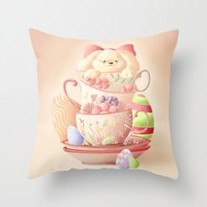 Teacup Bunny Throw Pillow