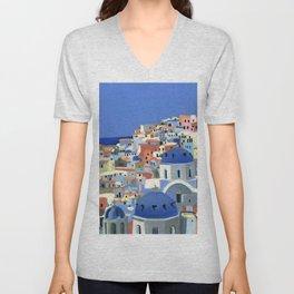 Santorini Greece Oil Painting Unisex V-Neck