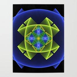 3D Graphic, Colorful Luminous Fractal Art Poster