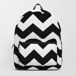 BLACK AND WHITE CHEVRON PATTERN - THICK LINED ZIG ZAG Backpack