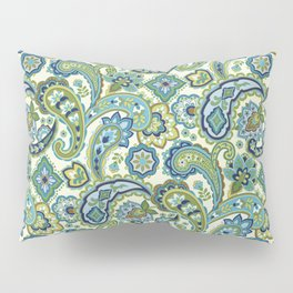 Blue and Green Paisley Pillow Sham