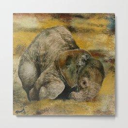 Baby Elephant Series: Playing Metal Print
