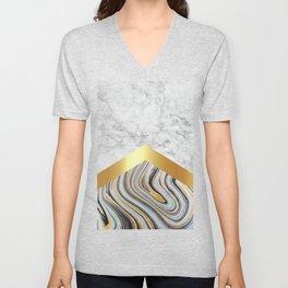 Arrows - White Marble, Gold & Blue Marble #610 Unisex V-Neck