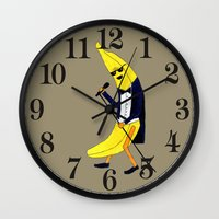banana Wall Clocks featuring Banana by Anna Shell