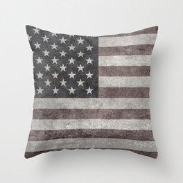 US Flag in vintage retro style Throw Pillow