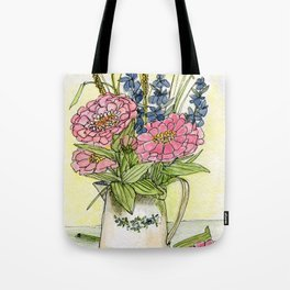 Pink Zinnias in Pitcher Watercolor Tote Bag