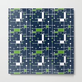 Intersecting Lines in Navy, Lime and White Metal Print