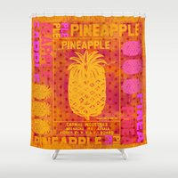 pineapple Shower Curtains featuring Pineapple by LebensART