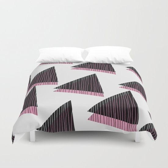 Pink Triangles III Duvet Cover